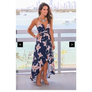 Navy Floral High Low Dress with Lace Up Back